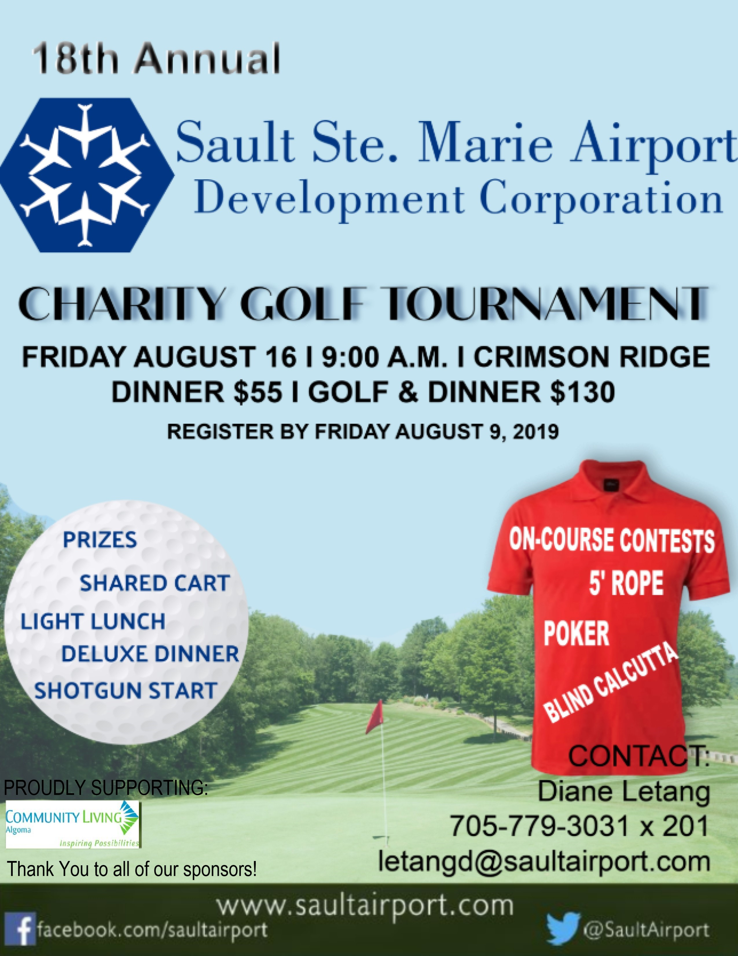 Annual Charity Golf Tournament – Sault Ste  Marie Airport